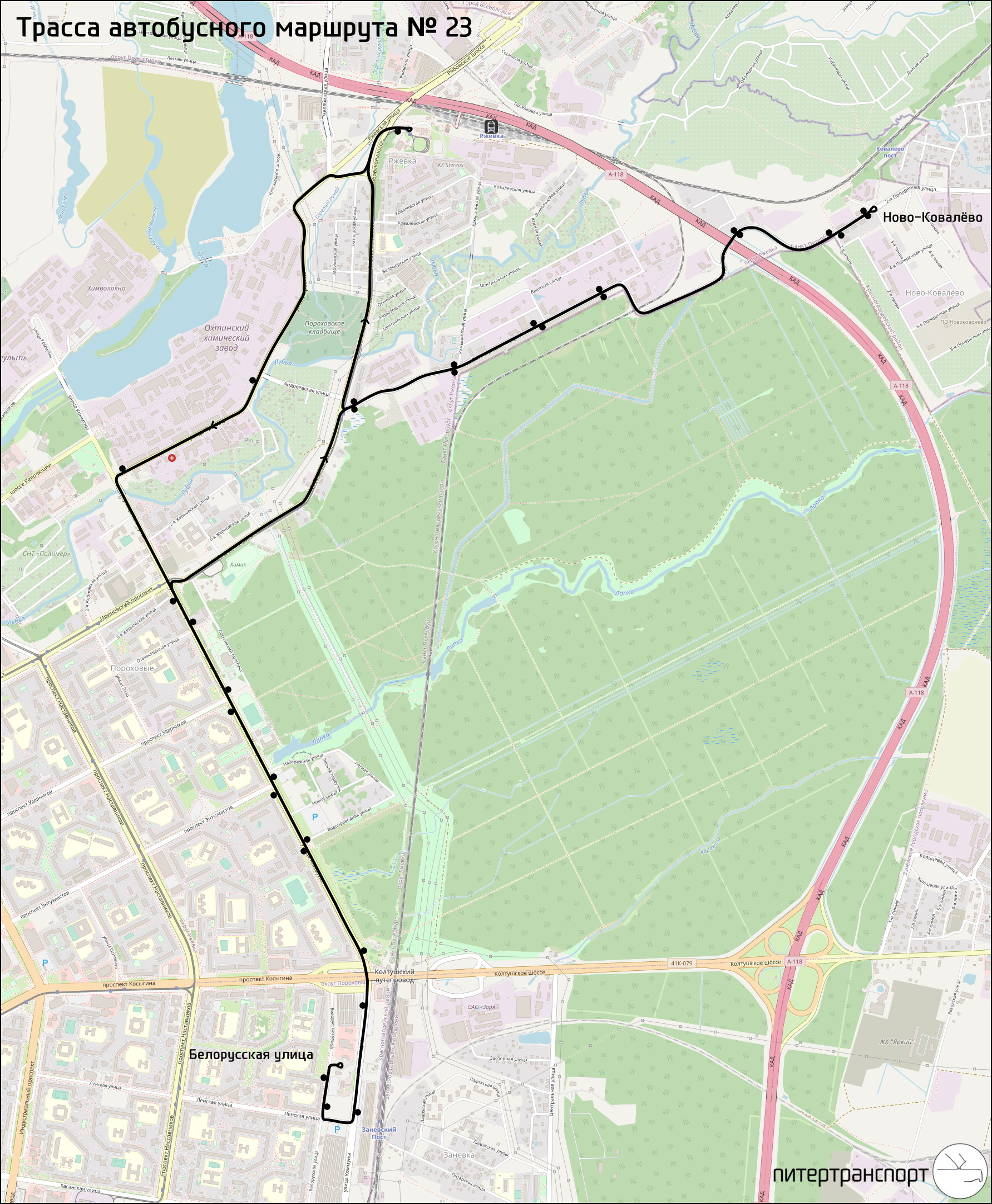 схема маршрута 23